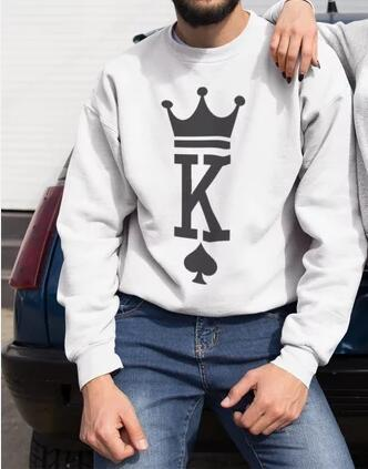 Image of New Couple Lovers Autumn Hoodies  Fashion King Queen Poker Print Women Men Sweatshirt Casual Long Sleeve Matching Pullovers