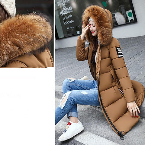 Image of Winter Slim Down Thicker Faux Fur Parka Jacket Coat