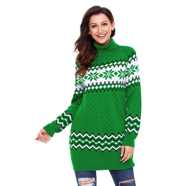 Xmas Snowflake Knit Turtleneck Female Sweater - LoveLuve