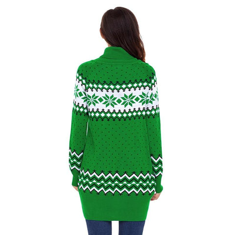 Image of Xmas Snowflake Knit Turtleneck Female Sweater - LoveLuve