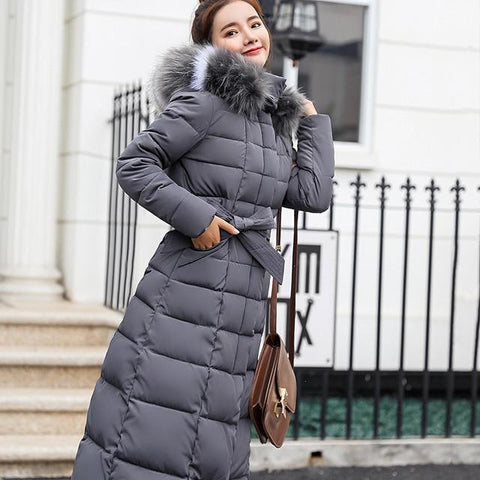 Image of Women Thick Down Parka Slim Fur Collar Winter Cotton Coat