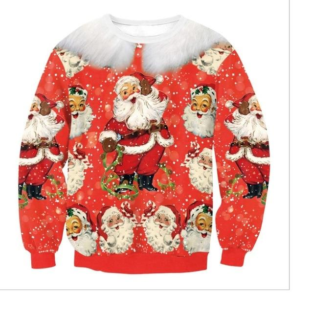 New Christmas Sweater Women/Men Fashion Santa 3D Printed Funny Ugly Sweaters O-Neck Long Sleeve Casual Fashion Streetwear
