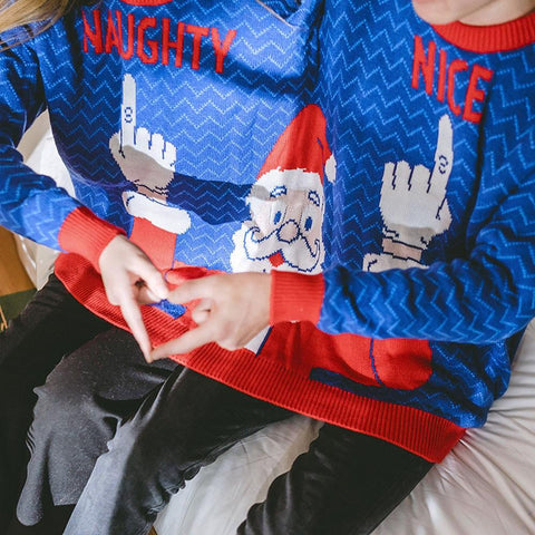 Image of two in one ugly Christmas sweaters for couples