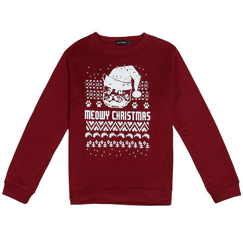 Meowy Christmas Theme Long-Sleeved Sweater - LoveLuve