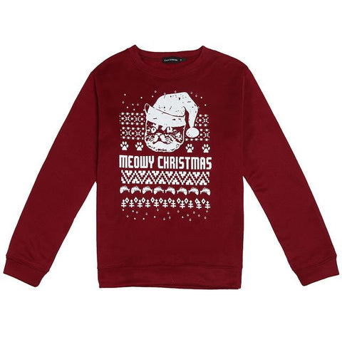 Image of Meowy Christmas Theme Long-Sleeved Sweater - LoveLuve