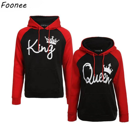 Image of Couples Lover Matching Look Sweatshirt 2018 Autumn Winter Unisex Women Men Casual Hooded Hoodies KING and Queen Pullovers