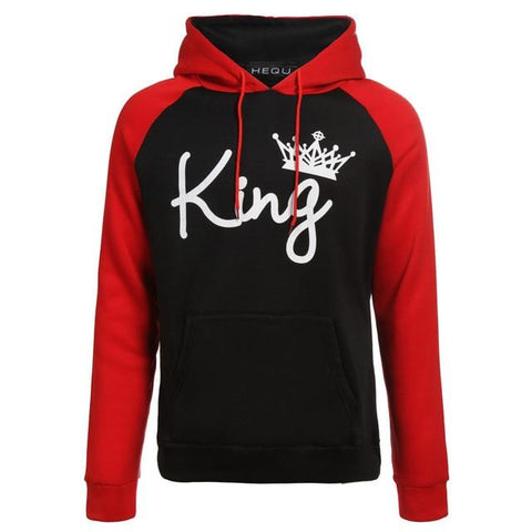 Couples Lover Matching Look Sweatshirt 2018 Autumn Winter Unisex Women Men Casual Hooded Hoodies KING and Queen Pullovers