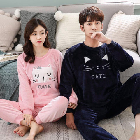 Image of Couple Matching Cate Flannel Pajamas - LoveLuve