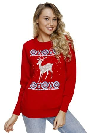 Image of Reindeer Jump Over Black Ugly Christmas Sweater