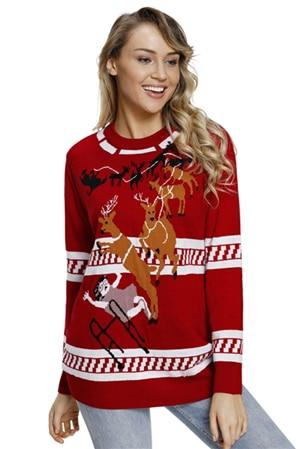 Reindeer Jump Over Black Ugly Christmas Sweater