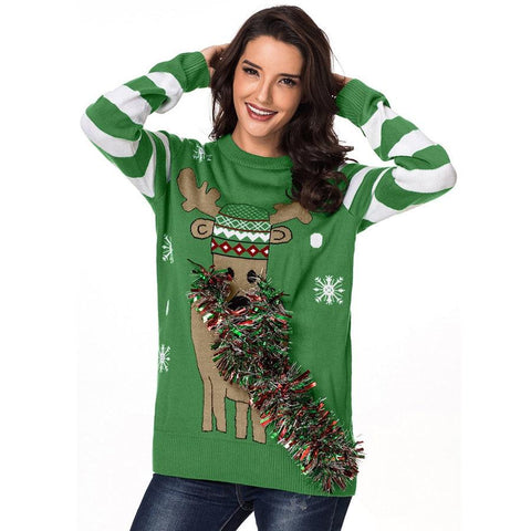 Image of Green Christmas Reindeer Ugly Sweater Womens Crew Neck Ribbed Trim Womens Jumpers Pullover Knitting Sweaters High Quality - LoveLuve