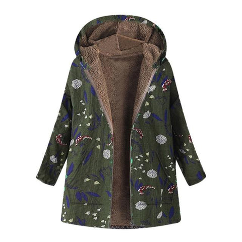 Image of Ukraine Floral Print Hooded Woman Jacket - LoveLuve