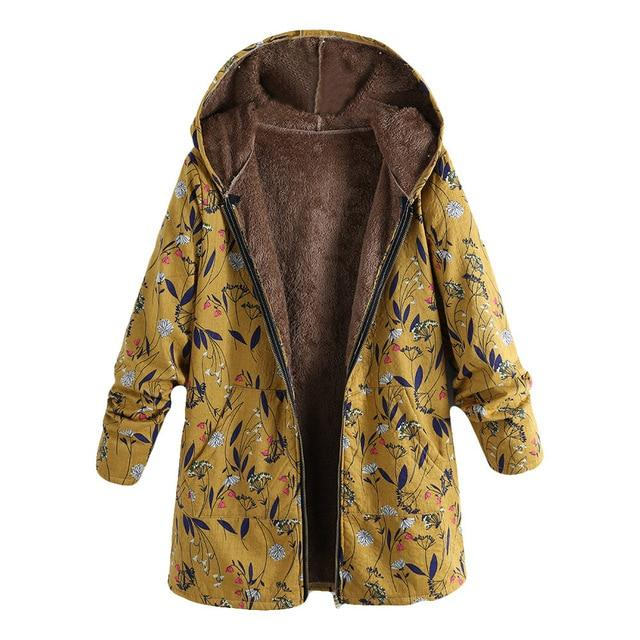 Ukraine Floral Print Hooded Woman Jacket - LoveLuve