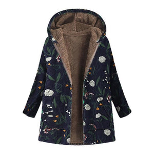 Ukraine Floral Print Hooded Woman Jacket