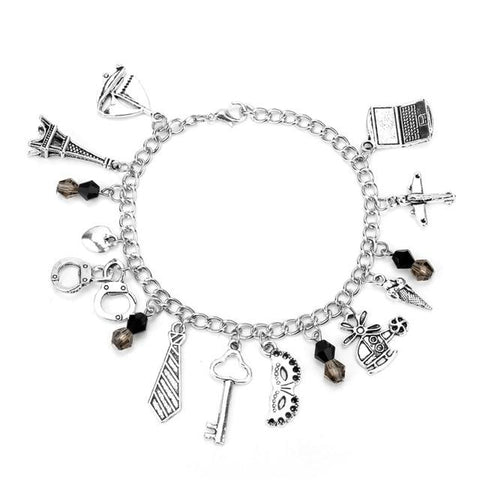 HANCHANG Women's Fashion FSOG Charm Bracelet Fifty Shades of Grey Inspired 50 Shades Charms Tie Handcuffs Gray Bracelets Gift - LoveLuve
