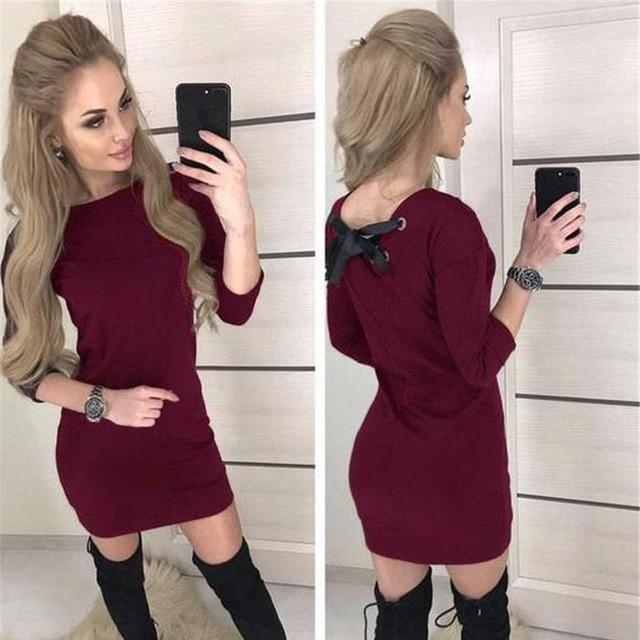 Fall 2018 Women Casual Three Quarter Sleeve Dress Vintage Christmas Party Dresses Autumn Sexy Black Red Backless Mini Dress - LoveLuve