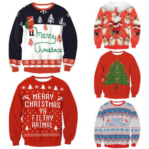 Image of New Arrival Stylish Unisex Christmas Sweatershirt Men Women Santa Xmas Christmas Novelty Ugly Warm Sweater Female Tops Clothes