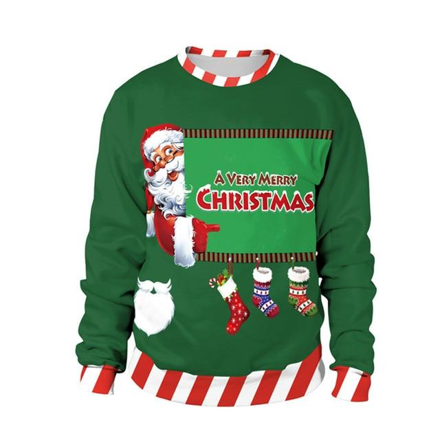 2018 Men Women 3D Ugly christmas sweater Vacation Santa Elf Funny Christmas Sweaters mujer Jumper Autumn Winter Tops Clothing - LoveLuve