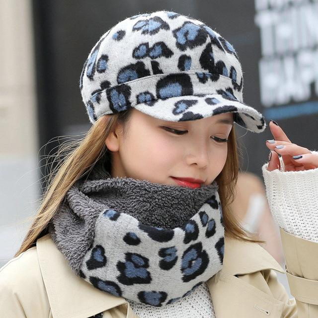 34abeee40f13 Leopard Print Women Beret Hat and Scarf - LoveLuve. Tap to expand