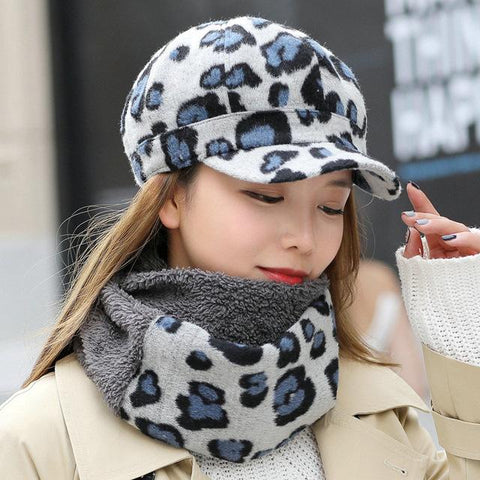 Leopard Print Women Beret Hat and Scarf - LoveLuve