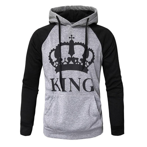 2018 KING Queen Crown Print Unisex Men Women Autumn Hoodies Slim Sweatshirt for Couple Lovers Winter Patchwork Hooded Pullovers - LoveLuve