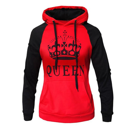 Image of 2018 KING Queen Crown Print Unisex Men Women Autumn Hoodies Slim Sweatshirt for Couple Lovers Winter Patchwork Hooded Pullovers - LoveLuve