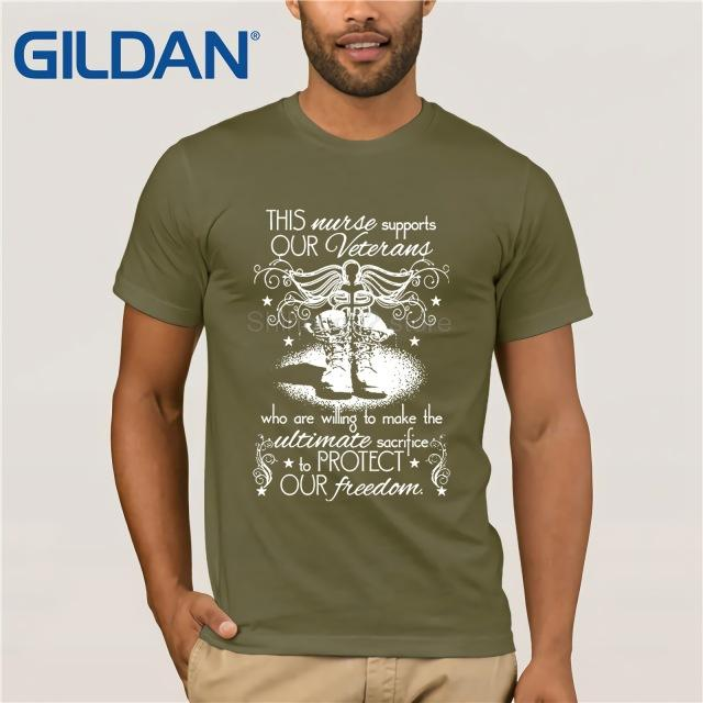 GILDAN This Nurse Supports Our Veterans T Shirt  summer dress T-shirt  dress T-shirt - LoveLuve