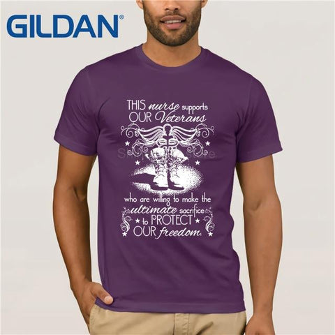 Image of GILDAN This Nurse Supports Our Veterans T Shirt  summer dress T-shirt  dress T-shirt - LoveLuve