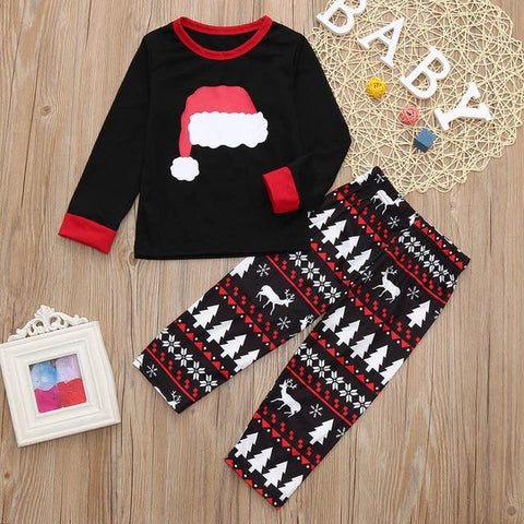 Image of 2PCS Family Christmas Pajamas set Adult Cartoon Kids Mommy Sleepwear Nightwear Mother Daughter Clothes Matching Family Outfits
