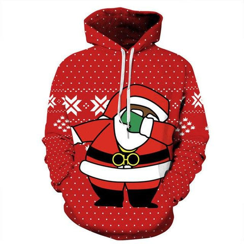 Image of Unisex Merry Christmas Women Hoodie Winter Xmas Full Sleeve Hooded Sweatshirt Warm Jumper Hooded Pullovers Casual Women Clothes