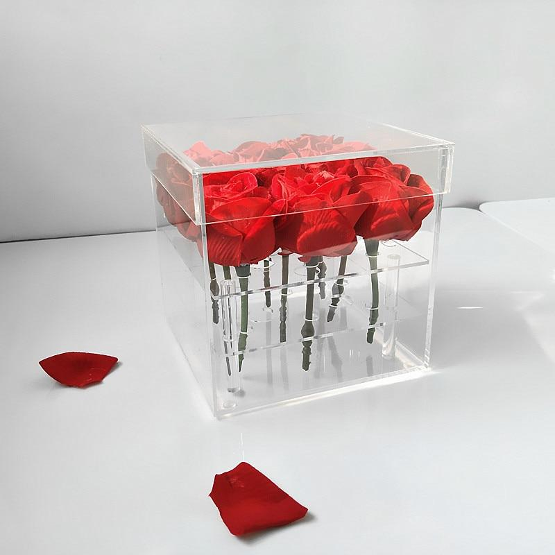 Acrylic Clear Flower Storage Box Makeup Organizer Holder Festival Birthday Gift for Girlfriend Wife - LoveLuve