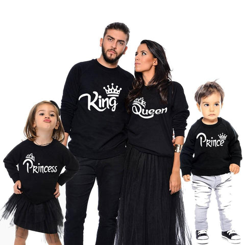 Image of Autumn Winter  Family Couple Matching Clothes Long Sleeve King Queen Crown Women Men Lovers Outfits Round Neck Pullover Top