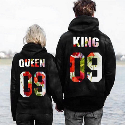 Image of King Queen Print Couple Hoodies 2018 autumn Men Women Hoodies Sweatshirts Casual Soft Long Sleeve Pullover Tops coat hoodie - LoveLuve