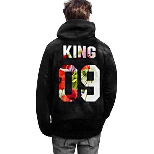King Queen Print Couple Hoodies 2018 autumn Men Women Hoodies Sweatshirts Casual Soft Long Sleeve Pullover Tops coat hoodie - LoveLuve