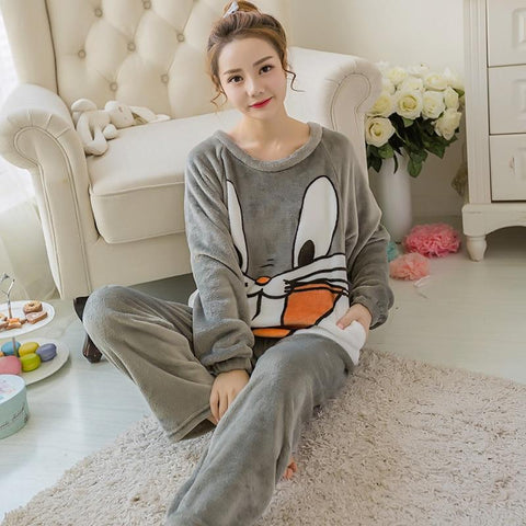 Image of Winter Coralline Flannel Pajamas for Women