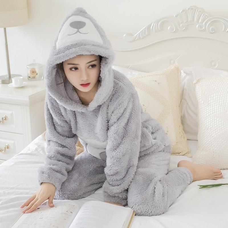 JRMISSLI Women Pyjamas Soft Pijamas Mujer hooded Coral Fleece Cartoon Pajamas Set Keep Warm Sleepwear for women - LoveLuve