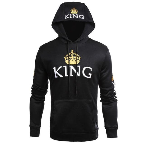 Image of Men Women Fall Winter Clothing Casual Wear Couple Sweatshirts Lettered Pattern QUEEN KING Print Long Sleeves Hoodie