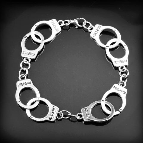Image of New Women Fashion Charm Bracelet Fifty Shades Of Grey Inspired 50 Shades Charms Tie Handcuffs Gray Bracelets Crime Bracelet -25