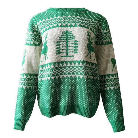 Long Sleeve Women Matching Deer Ugly Christmas Sweater
