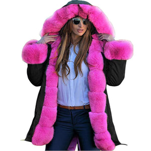 Women Faux Fur Winter Casual Long Hooded Parka Coat