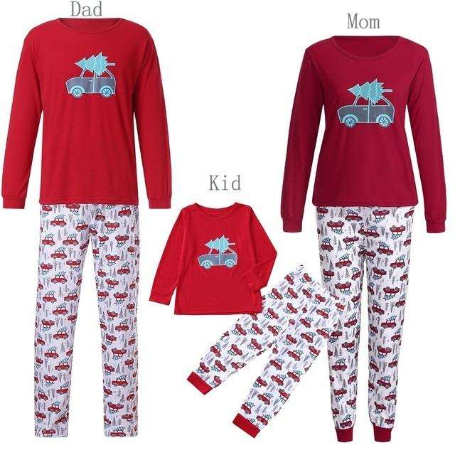 Women Family PJS Matching Christmas Pajamas Set Blouse +Santa Pants