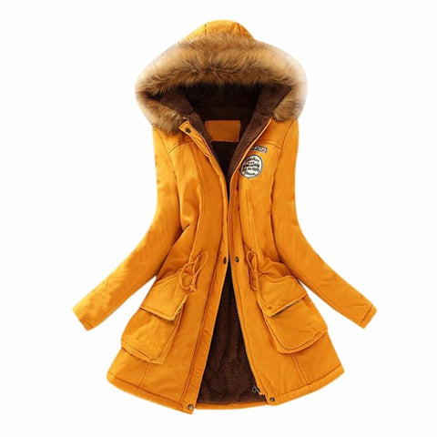 Image of Women Winter Parka Casual Military Hooded Jacket Coat