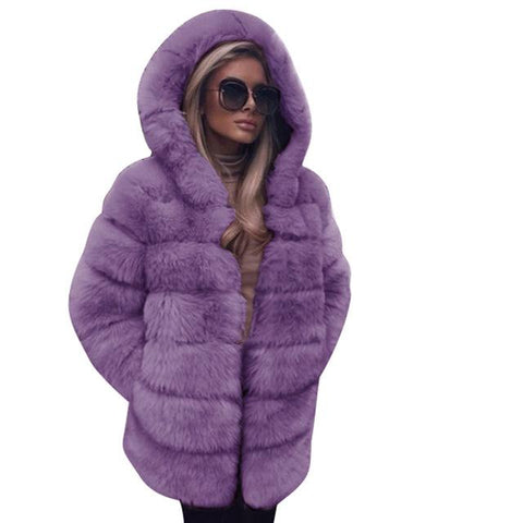 Image of Elegant Faux Fur Fashion Winter Coats