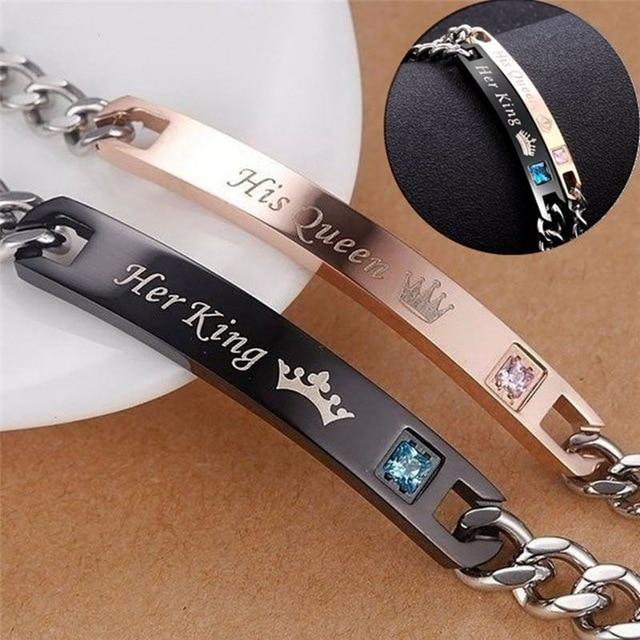 2pc Set His Queen Her King Black Rose Gold Color Women's Male Chain Crystal Couple Bracelet for Men