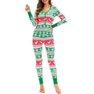 2PC Women Snowflake Elk Long Sleeve Christmas Pajamas Set