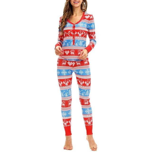 2PC Women Snowflake Elk Long Sleeve Christmas Pajamas Set - LoveLuve
