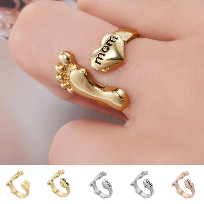 Family Letters Mom Dad Baby Love Foot Ring Cute Baby Foot & Heart Adjustable Rings