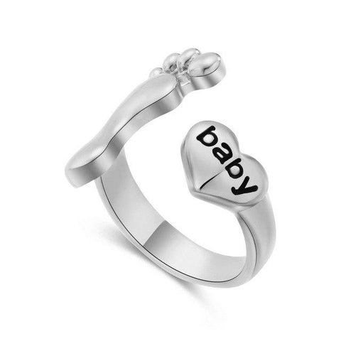 Image of Family Letters Mom Dad Baby Love Foot Ring Cute Baby Foot & Heart Adjustable Rings