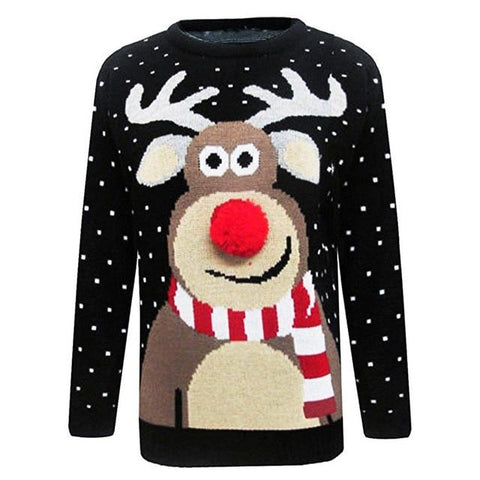 Image of Women Ugly Christmas Deer Warm Knitted Sweater