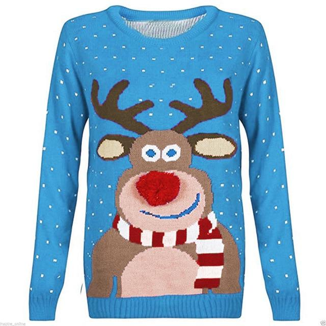 Women Ugly Christmas Deer Warm Knitted Sweater